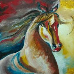 the magnificent horse, 30 x 23 inch, ravneet kaur,wildlife paintings,paintings for living room,horse paintings,canvas board,oil,30x23inch,GAL019885618
