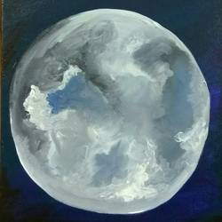 the lonely moon, 10 x 12 inch, ravneet kaur,realistic paintings,paintings for office,canvas,acrylic color,10x12inch,GAL019885619