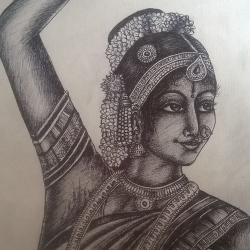 nattyam, 16 x 26 inch, prasanth t p,paintings for bedroom,impressionist drawings,canvas,pen color,16x26inch,GAL0285562