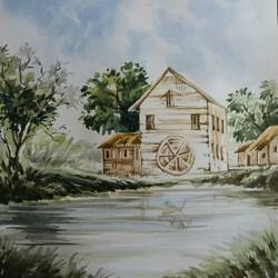 blissful nature, 8 x 10 inch, soubhik karmakar,paintings for living room,nature paintings,thick paper,watercolor,8x10inch,GAL020315625Nature,environment,Beauty,scenery,greenery