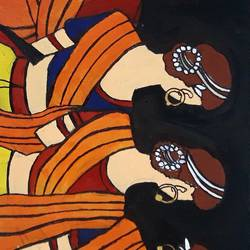 indian lady, 12 x 5 inch, namrta singh,paintings for bedroom,contemporary paintings,ply board,acrylic color,12x5inch,GAL020065626
