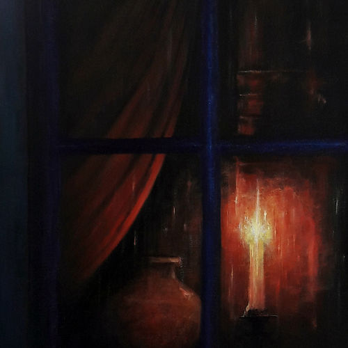 night vigil, 24 x 36 inch, seby augustine,photorealism,paintings for living room,modern art paintings,canvas,acrylic color,24x36inch,GAL01505631