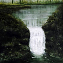 the stream, 24 x 48 inch, seby augustine,nature paintings,paintings for living room,canvas,acrylic color,24x48inch,GAL01505633Nature,environment,Beauty,scenery,greenery,waterfall,water,grass,trees
