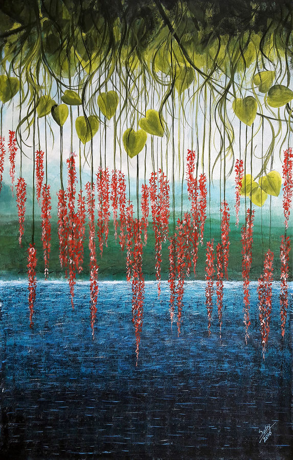 riverside, 24 x 36 inch, seby augustine,flower paintings,paintings for living room,canvas,acrylic color,24x36inch,GAL01505635
