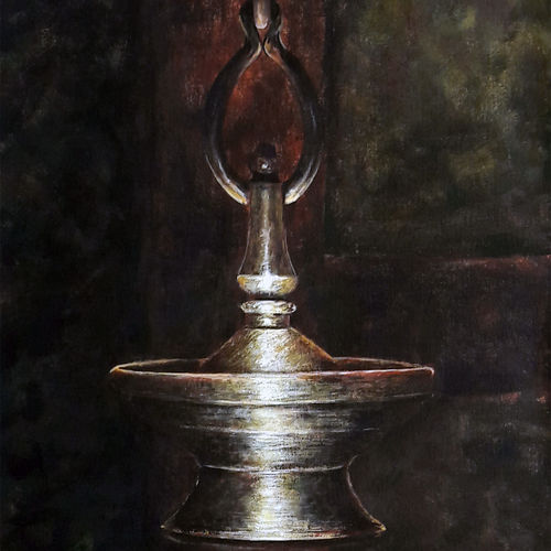 thookkuvilakku, 24 x 36 inch, seby augustine,still life paintings,paintings for living room,canvas,acrylic color,24x36inch,GAL01505637