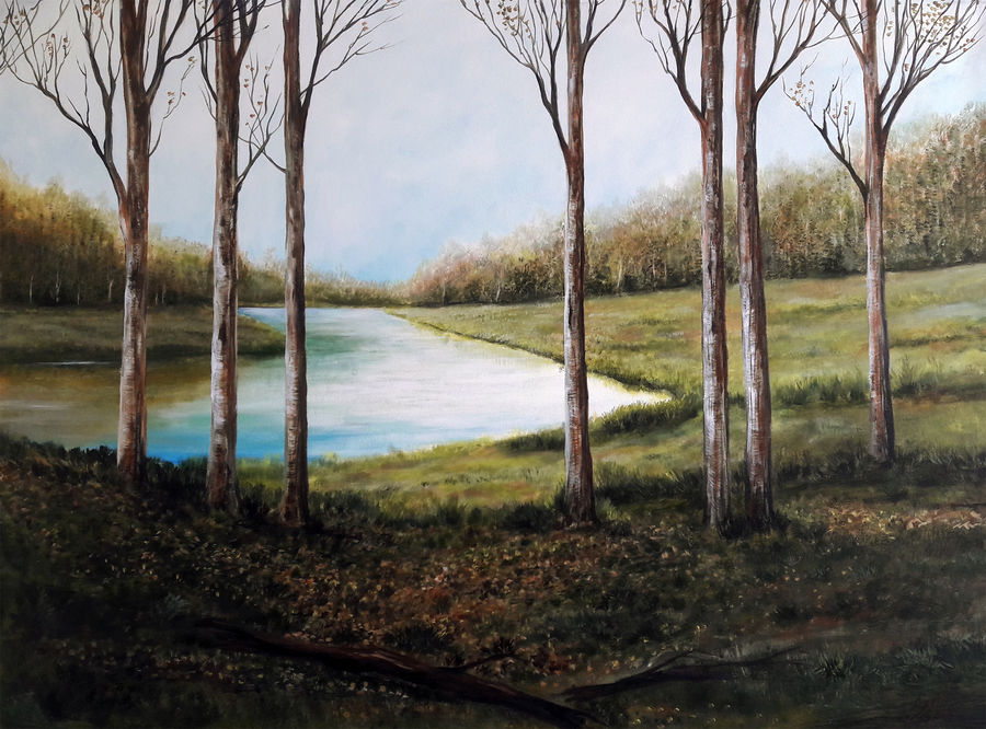 winter, 43 x 34 inch, seby augustine,nature paintings,paintings for dining room,horizontal,canvas,acrylic color,43x34inch,GAL01505639Nature,environment,Beauty,scenery,greenery