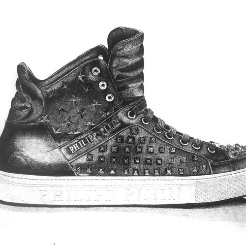 philipp plein  shoe, 30 x 22 inch, sanchit raj,still life paintings,paintings for dining room,thick paper,ink color,30x22inch,GAL0288564