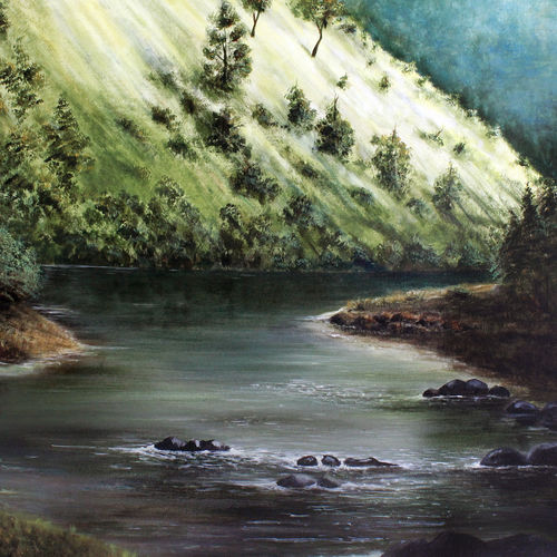 river , 43 x 34 inch, seby augustine,nature paintings,paintings for dining room,canvas,acrylic color,43x34inch,GAL01505643Nature,environment,Beauty,scenery,greenery,river,mountains,greenery,peace
