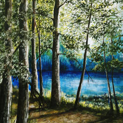 lakeview, 24 x 36 inch, seby augustine,nature paintings,paintings for living room,canvas,acrylic color,24x36inch,GAL01505644Nature,environment,Beauty,scenery,greenery,trees,water,lake
