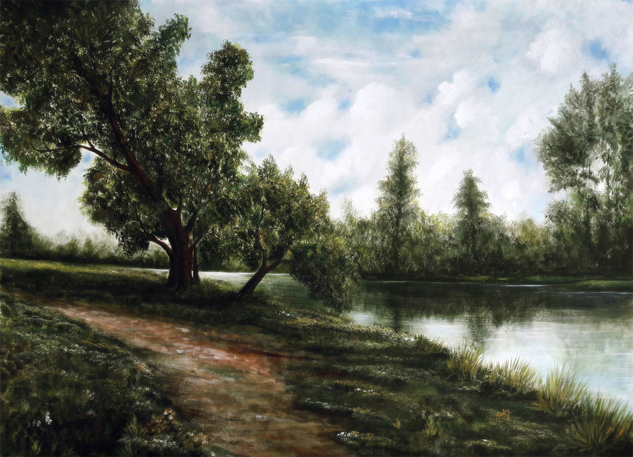 tranquillity, 43 x 34 inch, seby augustine,nature paintings,paintings for dining room,canvas,acrylic color,43x34inch,GAL01505647Nature,environment,Beauty,scenery,greenery