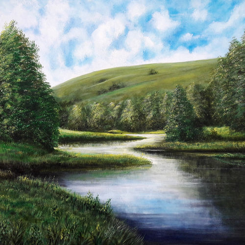 the green, 33 x 27 inch, seby augustine,nature paintings,paintings for dining room,canvas,acrylic color,33x27inch,GAL01505650Nature,environment,Beauty,scenery,greenery,beautiful,sunrise,sun,water,river,lake,clouds,trees,leaves,flowers