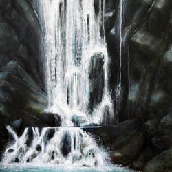 waterfall, 24 x 36 inch, seby augustine,nature paintings,paintings for living room,canvas,acrylic color,24x36inch,GAL01505651Nature,environment,Beauty,scenery,greenery