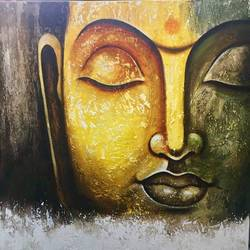 the buddha, 24 x 24 inch, nisha agarwal,buddha paintings,paintings for living room,canvas,acrylic color,24x24inch,GAL020375664