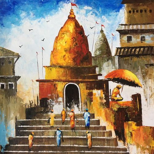 the divine glow, 24 x 24 inch, nisha agarwal,religious paintings,paintings for living room,canvas,acrylic color,24x24inch,GAL020375665