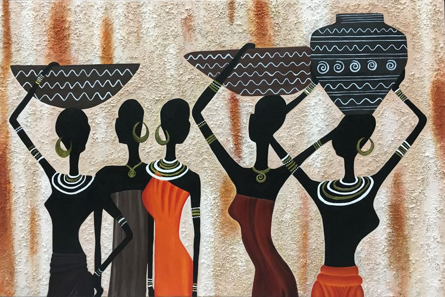 tribal ladies, 36 x 24 inch, nisha agarwal,figurative paintings,paintings for living room,canvas,acrylic color,36x24inch,GAL020375666