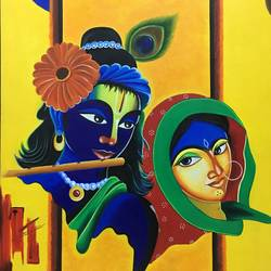 the divine love, 24 x 38 inch, nisha agarwal,radha krishna paintings,paintings for living room,canvas,acrylic color,24x38inch,radhakrishna,love,lord,flute,music,krishna,radha,religious,GAL020375668