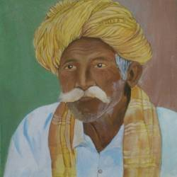 rajastani man i, 18 x 20 inch, aradhana gupta,dada paintings,paintings for living room,figurative paintings,canvas,acrylic color,18x20inch,GAL018525670