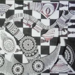 chessboard mandala, 16 x 27 inch, samina  wagla,cubism drawings,paintings for office,modern art paintings,hardboard,ball point pen,16x27inch,GAL020425677