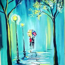 raining romance, 18 x 24 inch,  noopur mishra,nature paintings,paintings for bedroom,canvas,acrylic color,18x24inch,GAL019655678Nature,environment,Beauty,scenery,greenery,umbrella,streetlight,water,trees