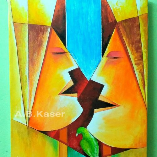 conversation , 18 x 24 inch, a.b.  kaser,figurative paintings,paintings for living room,vertical,canvas,acrylic color,18x24inch,GAL06365680