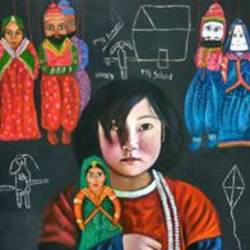 save girl child from early marriage, 36 x 48 inch, sai kalyani,figurative paintings,paintings for office,canvas,acrylic color,36x48inch,GAL020525685