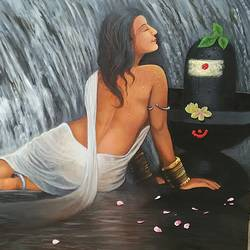 aradhana, 48 x 36 inch, sai kalyani,figurative paintings,paintings for bedroom,canvas,acrylic color,48x36inch,GAL020525688