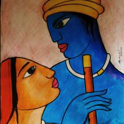 love, 14 x 22 inch, mahendar bharatha,paintings for living room,radha krishna drawings,drawing paper,pencil color,14x22inch,GAL020225692