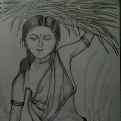 village girl, 8 x 12 inch, mahendar bharatha,abstract drawings,paintings for bedroom,paper,graphite pencil,8x12inch,GAL020225694