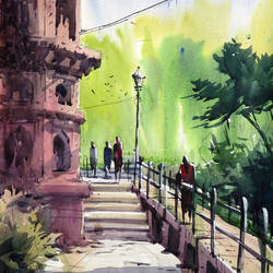 purana qila, 14 x 18 inch, sankar thakur,landscape paintings,paintings for office,fabriano sheet,watercolor,14x18inch,GAL0757