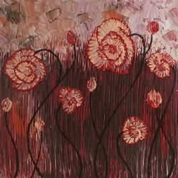 carnations swaying to the rhythm of the wind, 36 x 12 inch, esther sandhya a,multi piece paintings,paintings for living room,canvas,acrylic color,36x12inch,GAL016635700