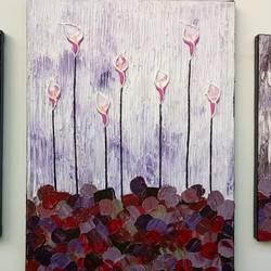 rosy-purple calla lilies, 36 x 16 inch, esther sandhya a,multi piece paintings,paintings for bedroom,canvas,acrylic color,36x16inch,GAL016635701