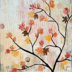 autumn maples, 12 x 28 inch, esther sandhya a,landscape paintings,paintings for office,canvas,acrylic color,12x28inch,GAL016635702