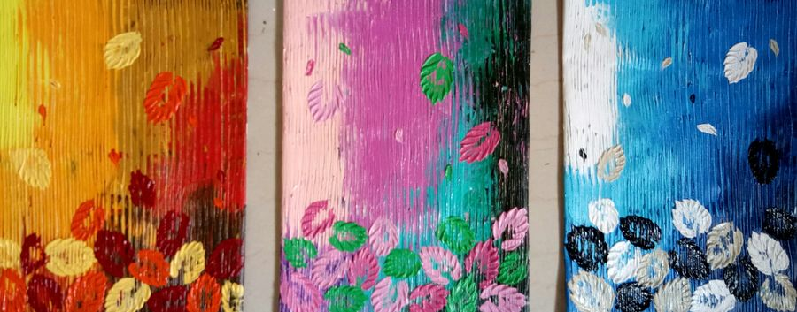 season splendour, 36 x 16 inch, esther sandhya a,multi piece paintings,paintings for office,canvas,acrylic color,36x16inch,GAL016635704