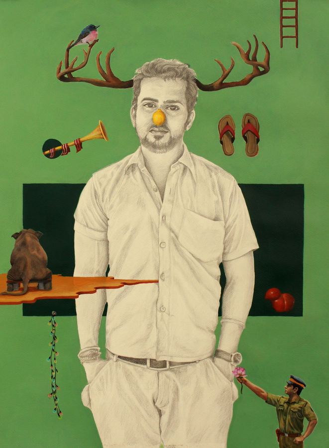 he fooled me, 29 x 37 inch, ankur singla,surrealist paintings,fabriano sheet,mixed media,29x37inch,GAL018905714