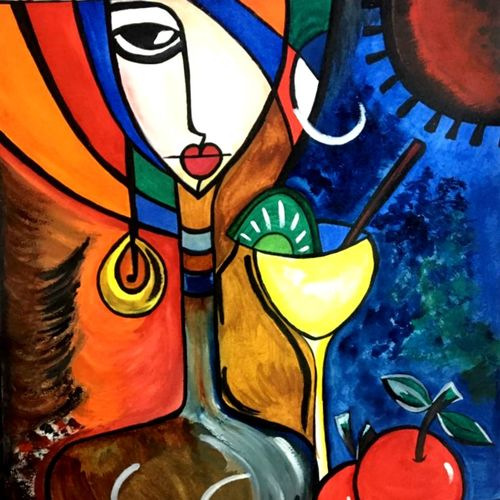 modern art-3ready for cocktail party, 11 x 13 inch, seema agrawal,modern art paintings,paintings for dining room,love paintings,vertical,cartridge paper,watercolor,11x13inch,GAL018595721