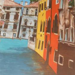 when in venice, 11 x 15 inch, nisha  agrawal,realistic paintings,paintings for living room,renaissance watercolor paper,poster color,11x15inch,GAL020755726