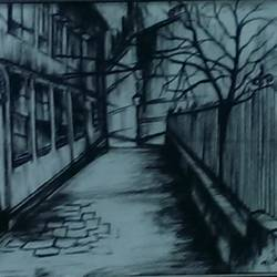charcoal on paper, 13 x 10 inch, nisha  agrawal,street art,paintings for office,landscape paintings,cartridge paper,charcoal,13x10inch,GAL020755727
