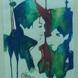 undying love, 9 x 13 inch, nisha  agrawal,love paintings,paintings for bedroom,handmade paper,photo ink,9x13inch,GAL020755729heart,family,caring,happiness,forever,happy,trust,passion,romance,sweet,kiss,love,hugs,warm,fun,kisses,joy,friendship,marriage,chocolate,husband,wife,forever,caring,couple,sweetheart