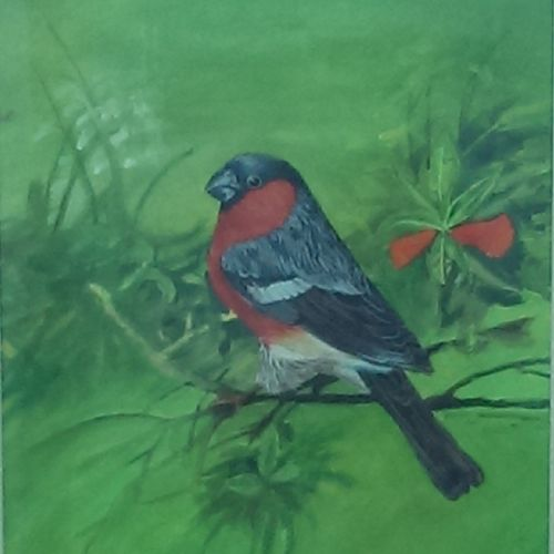 chirping bird, 11 x 15 inch, nisha  agrawal,nature paintings,paintings for living room,renaissance watercolor paper,poster color,11x15inch,GAL020755731Nature,environment,Beauty,scenery,greenery
