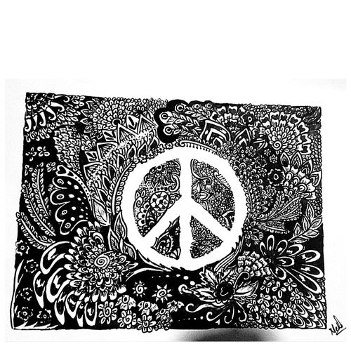 peace mandala, 12 x 8 inch, neha goud,modern drawings,paintings for living room,thick paper,ink color,12x8inch,GAL020775744