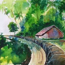 village road , 20 x 14 inch, mahendra shewale,nature paintings,paintings for living room,handmade paper,watercolor,20x14inch,GAL018725748Nature,environment,Beauty,scenery,greenery