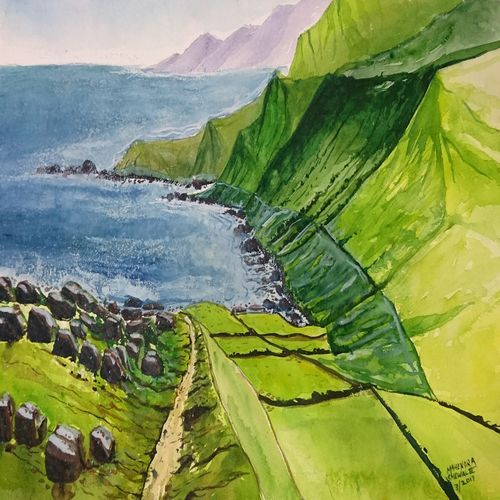 sea view , 20 x 14 inch, mahendra shewale,nature paintings,paintings for living room,handmade paper,watercolor,20x14inch,GAL018725749Nature,environment,Beauty,scenery,greenery