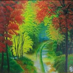 beautiful nature, 15 x 21 inch, soumik guchhait,landscape paintings,paintings for dining room,paper,oil,15x21inch,GAL020785750