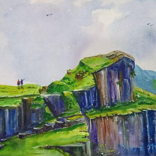 hilly nature, 20 x 14 inch, mahendra shewale,nature paintings,paintings for living room,handmade paper,watercolor,20x14inch,GAL018725751Nature,environment,Beauty,scenery,greenery