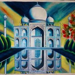 taj mahal, 31 x 23 inch, soumik guchhait,landscape paintings,paintings for dining room,handmade paper,oil paint,31x23inch,GAL020785754