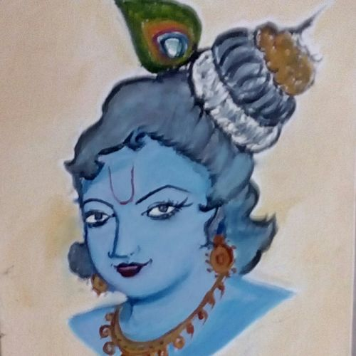 lord krishna (oil ), 9 x 11 inch, vidhya rathi,radha krishna paintings,canvas,oil,9x11inch,GAL020845757,krishna,love,pece,lordkrishna,lord,peace,krishna,devotion