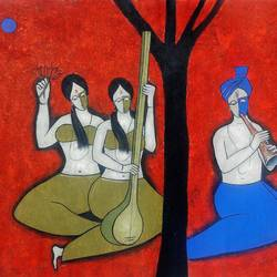 musical journey 1, 39 x 33 inch, chetan katigar,figurative paintings,paintings for dining room,canvas,mixed media,39x33inch,GAL0266576