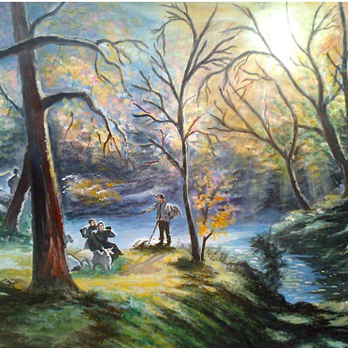 adventure to forest, 29 x 23 inch, mohammad zakaria,nature paintings,paintings for living room,thick paper,acrylic color,29x23inch,GAL020355763Nature,environment,Beauty,scenery,greenery,people,trees,water,scene