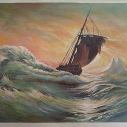 thunderstorm disturb the ocean, 20 x 17 inch, mohammad zakaria,nature paintings,paintings for bedroom,canvas,acrylic color,20x17inch,GAL020355764Nature,environment,Beauty,scenery,greenery,waves,boat,ship,sky