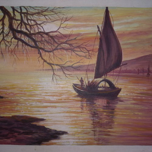 evening at seashore, 20 x 17 inch, mohammad zakaria,nature paintings,paintings for bedroom,canvas,acrylic color,20x17inch,GAL020355765Nature,environment,Beauty,scenery,greenery,boat,ship,sunset,water,sailing,sun